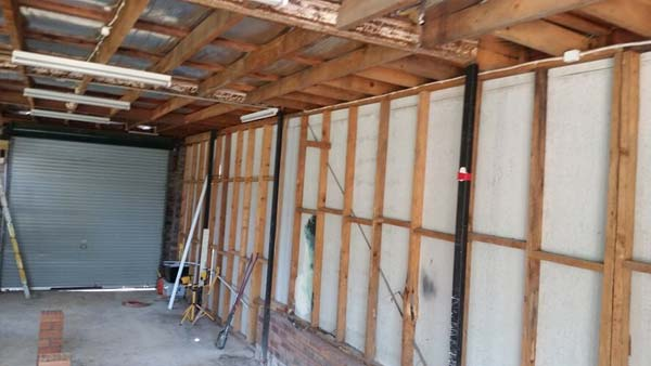 Garage under demolition