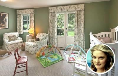 Drew Barrymore's green inspired paint nursery room