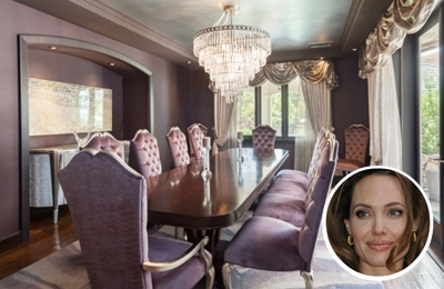 Angelina Jolie's elegant dark paint colour dining room