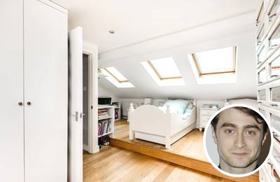 Daniel Radcliffe's relaxing white paint bedroom