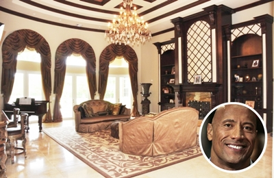 Dwayne Johnson's earthy paint living room