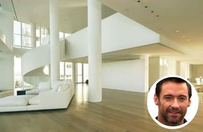 Hugh Jackman's bright white paint colour living room