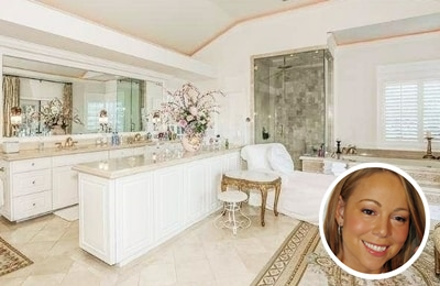 Mariah Carey's white and gold paint colour bathroom