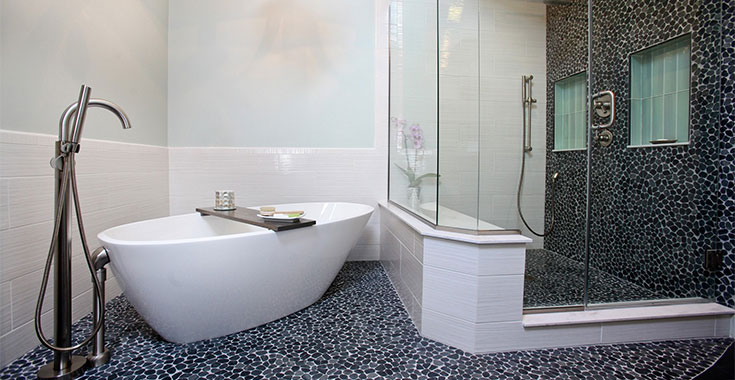 Black and white tiled bathroom