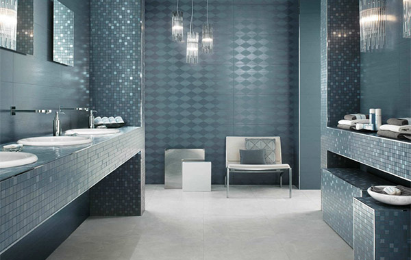 Tiled blue mosaic bathroom