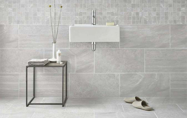 Grey marble effect wall and floor tiles