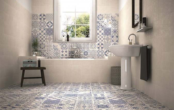 Skyros white tiled bathroom