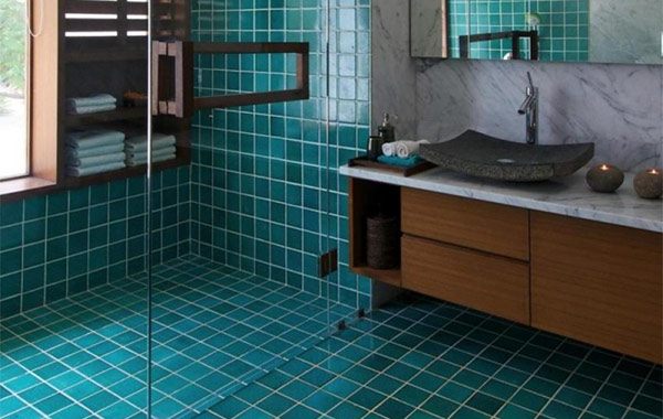 Tiled bathroom floor and wall