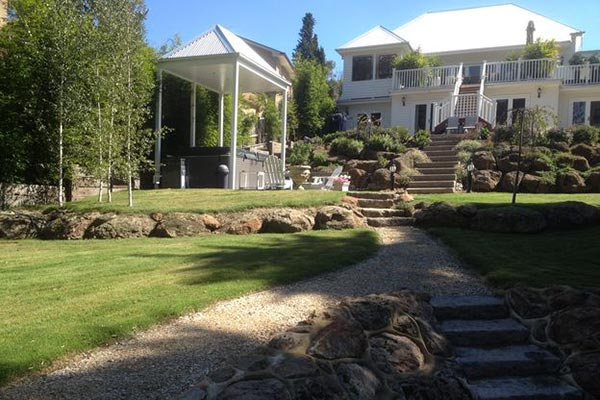 Rocks and lawn grasses for landscaping