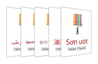 Bi-lingual Wet Paint Signs