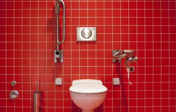 red theme coloured bathroom