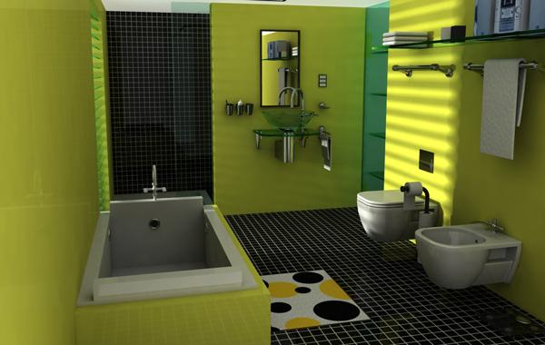 green theme coloured batroom