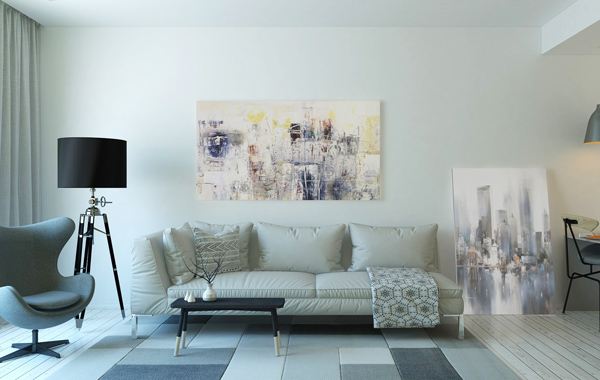 white theme couch and furnitures livingroom