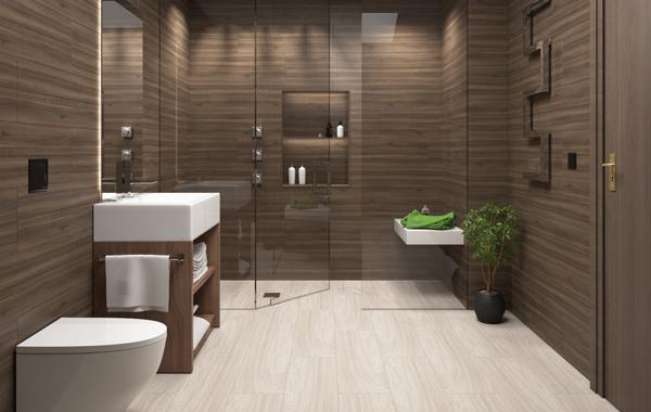 clean brown bathroom tiles