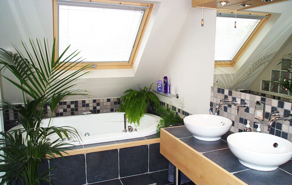 modern earth tone bathroom design