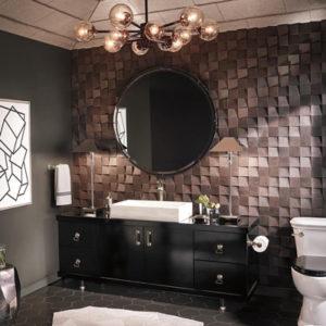 brown 3d tiles modern bathroom