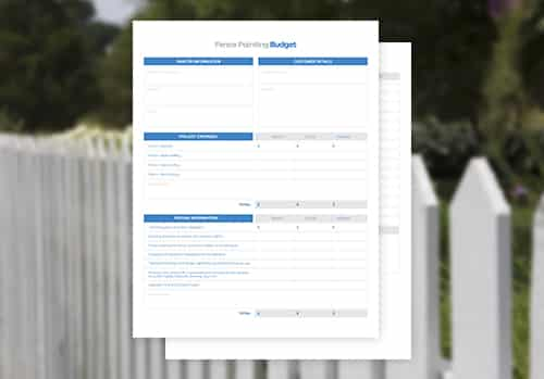 Fence Painting Budget Free Template Downloads